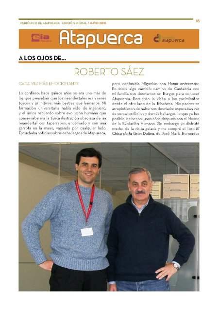 """Periodico de Atapuerca Mayo15 sección """"A los ojos de"""", pág 18"""