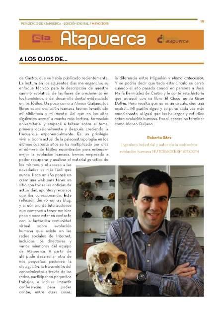 """Periodico de Atapuerca Mayo15 sección """"A los ojos de"""", pág 19"""