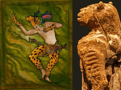 Dancing jaguar shaman (L). Stripes on Lion-Man (R)